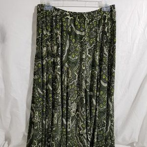 Grace Ladies Skirt Sz S. Green Paisley?
